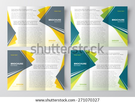 brochure design template  geometric abstract set - stock vector