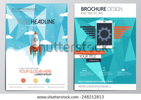 Brochure Design Template. Geometric shapes, Abstract Modern Backgrounds, Infographic Concept.Flat design. Vector - stock vector