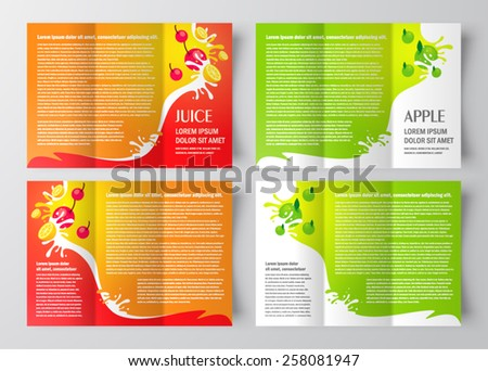 brochure design template juice fruit drops liquid  orange apple set - stock vector