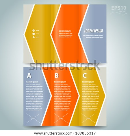 brochure design template line stripes arrow colored - stock vector