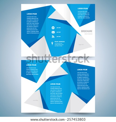 brochure design template polygonal tri-fold abstract triangles - stock vector