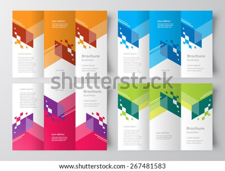 Brochure design template tri-fold color stripes abstract - stock vector