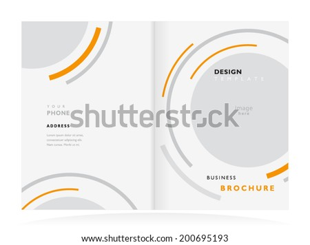 brochure design template tri-fold vector abstract round - stock vector