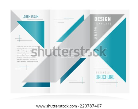brochure design template tri-fold vector abstract triangles figure, frame for images - stock vector