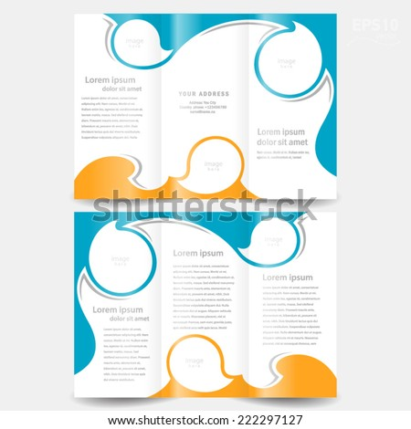 brochure design template twist blue orange white color, frame for images - stock vector