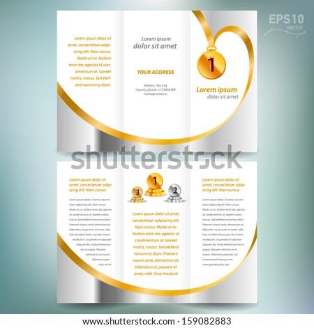 brochure design template vector folder leaflet award winner element gold color white background - stock vector