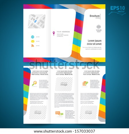 brochure design template vector folder leaflet colorful line, block for images - stock vector
