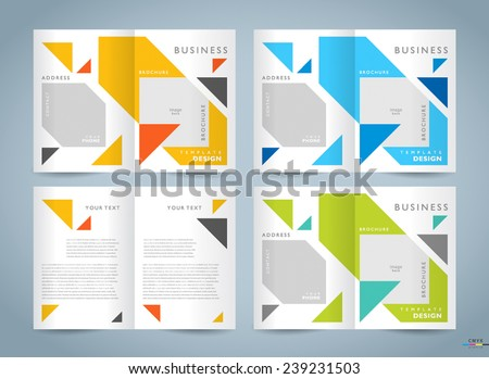 brochure design template vector set - booklet geometric abstract triangles figure, cmyk profile - stock vector