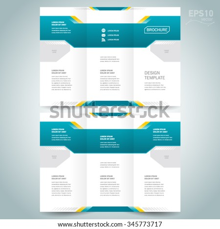 brochure design template vector tri-fold geometric abstract - stock vector