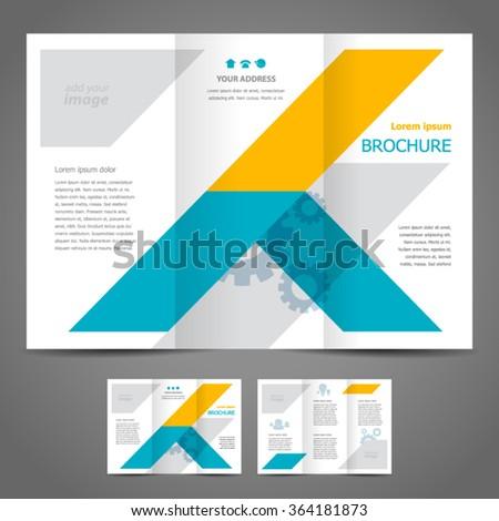 Brochure design template vector tri-fold stripes abstract - stock vector