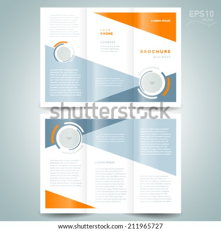 brochure design template vector trifold geometric abstract circle - stock vector