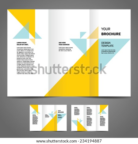 brochure design template vector trifold geometric abstract, cmyk profile, transparent - stock vector