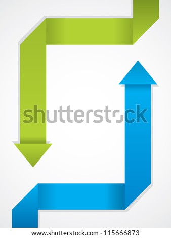 Brochure design with folded blue and green origami arrow - stock vector