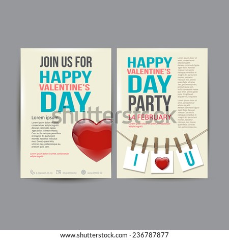 Brochure Flyer Happy Valentine's Day  design vector template illustration - stock vector