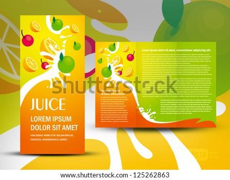 brochure folder juice fruit drops liquid orange green apple element design / cmyk, no transparent - stock vector