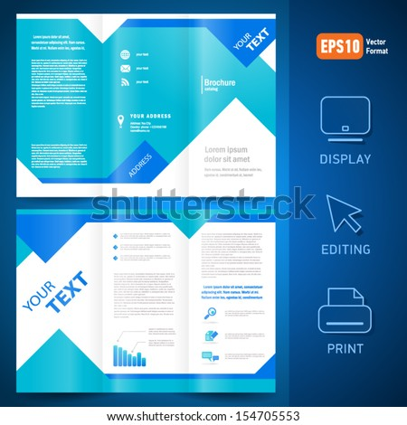 brochure folder leaflet geometric triangle rhombus abstract element blue color background - stock vector