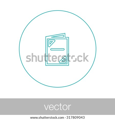 Brochure icon. Menu icon. Folder icon. Flat design style icon. - stock vector