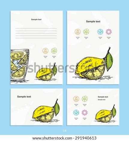 Brochure, magazine - Corporate identity design vector - Lemon - Food - Drink - Sketch - Sketch drawn by hand. - stock vector