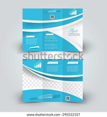 Brochure mock up design template for business, education, advertisement. Trifold booklet editable printable vector illustration. Green color. Blue color. - stock vector