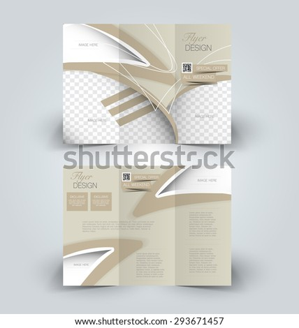 Brochure mock up design template for business, education, advertisement. Trifold booklet editable printable vector illustration. Brown color. - stock vector