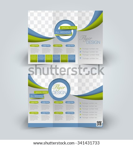 Brochure mock up design template for business, education, advertisement. Trifold booklet editable printable vector illustration. Blue and green color - stock vector