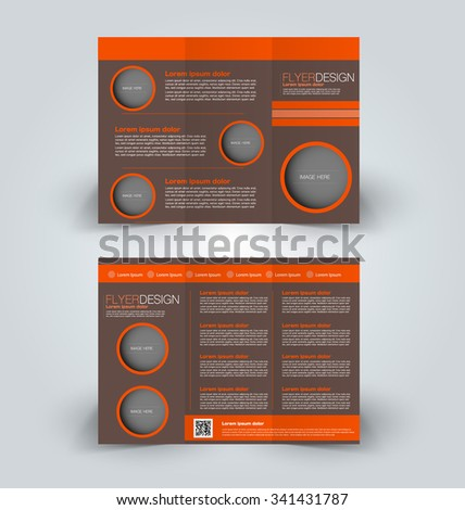 Brochure mock up design template for business, education, advertisement. Trifold booklet editable printable vector illustration. Orange and brown color - stock vector