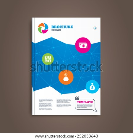 Brochure or flyer design. Currency exchange icon. Cash money bag and wallet with coins signs. Dollar, euro, pound, yen symbols. Book template. Vector - stock vector