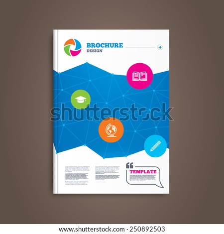 Brochure or flyer design. Pencil and open book icons. Graduation cap and geography globe symbols. Education learn signs. Book template. Vector - stock vector