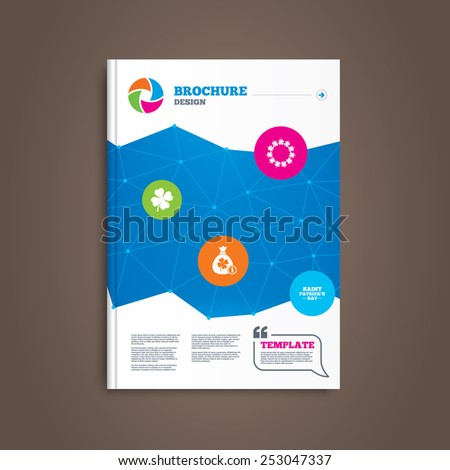 Brochure or flyer design. Saint Patrick day icons. Money bag with coin and clover sign. Wreath of quatrefoil clovers. Symbol of good luck. Book template. Vector - stock vector