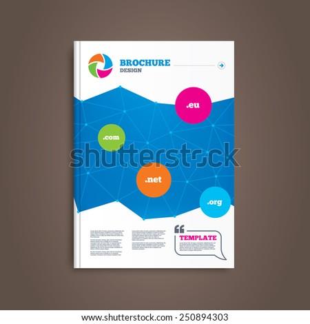 Brochure or flyer design. Top-level internet domain icons. Com, Eu, Net and Org symbols. Unique DNS names. Book template. Vector - stock vector