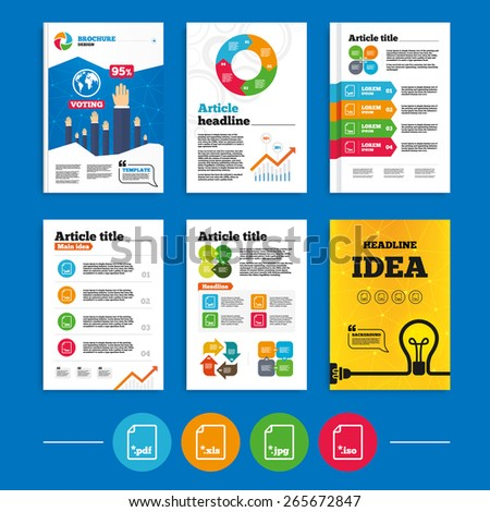 Brochure or flyers design. Download document icons. File extensions symbols. PDF, XLS, JPG and ISO virtual drive signs. Business poll results infographics. Vector - stock vector