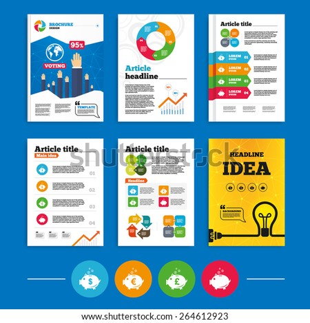 Brochure or flyers design. Piggy bank icons. Dollar, Euro and Pound moneybox signs. Cash coin money symbols. Business poll results infographics. Vector - stock vector