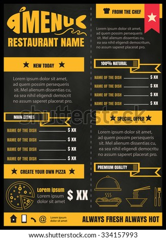 Brochure or poster Restaurant  food menu with Chalkboard Background vector format eps10 - stock vector