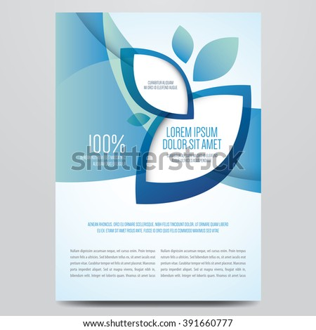 Brochure, poster, magazine cover, eco flyer vector template. Modern blue corporate design. - stock vector