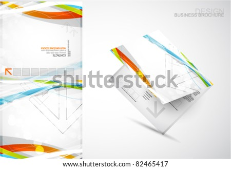 Brochure template. Abstract color lines - stock vector