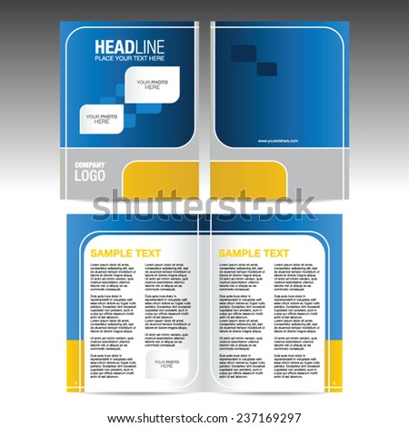 Brochure template, blue and yellow design with cover and open pages - stock vector
