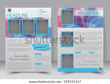 Brochure template. Business flyer. Editable A4 poster for design, education, presentation, website, magazine cover. Blue and pink color. - stock vector