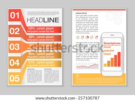 Brochure Template Design with Infographic elements, charts and icons. Creative Vector Flyer, Pamphlet, Leaflet set for business, marketing, advertising and corporate web site layout and Background. - stock vector