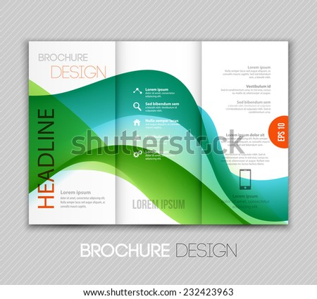 Brochure template design with wave - stock vector
