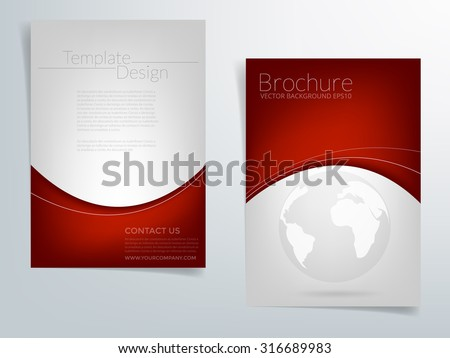 Brochure template flyer headline design background with red and silver grey element curve and world network concept with space for article text design in A4 size , vector EPS10 - stock vector