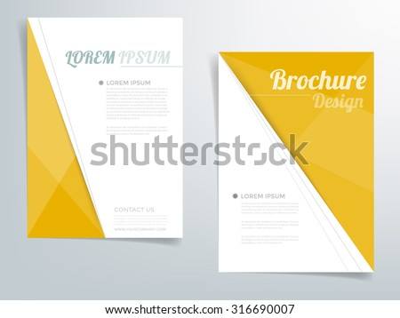 Brochure template flyer headline design background with yellow and white element line and concept with space for article text design in A4 size , Vector EPS10 - stock vector