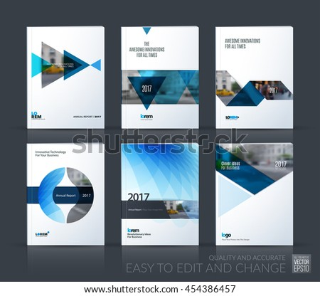 Brochure template layout, cover design annual report, magazine, flyer, leaflet in A4 with blue triangle, arrow, circle, ribbon with overlap effect for business and construction. Vector big mega set. - stock vector