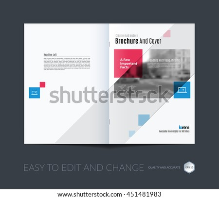 Brochure template layout, cover design annual report, magazine, flyer or booklet in A4 with blue squares, rectangles and overlap effect for business with industrial and modern concept. Vector. - stock vector