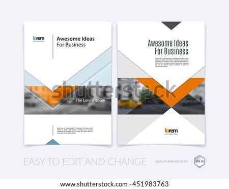 Brochure template layout, cover design annual report, magazine, flyer or leaflet in A4 with arrows, triangles with overlap effect for business with industrial and modern concept. Vector set. - stock vector