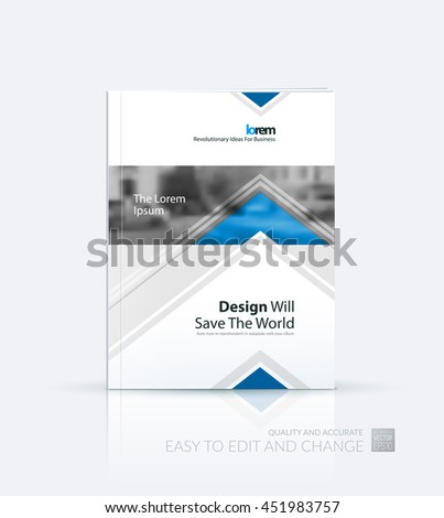 Brochure template layout, cover design annual report, magazine, flyer or leaflet in A4 with blue arrows, triangles with overlap effect for business with industrial and modern concept. Vector. - stock vector