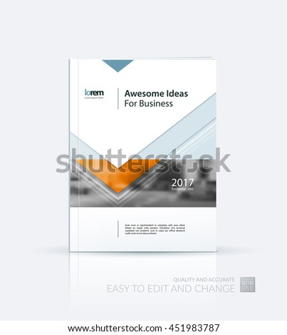 Brochure template layout, cover design annual report, magazine, flyer or leaflet in A4 with orange arrows, triangles with overlap effect for business with industrial and modern concept. Vector. - stock vector
