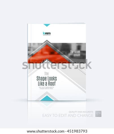 Brochure template layout, cover design annual report, magazine, flyer or leaflet in A4 with red arrows, triangles with overlap effect for business with industrial and modern concept. Vector. - stock vector
