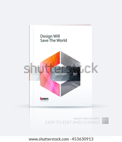 Brochure template layout, cover design annual report, magazine, flyer or leaflet in A4 with red hexagon with overlap effect for business with industrial and modern concept. Vector. - stock vector