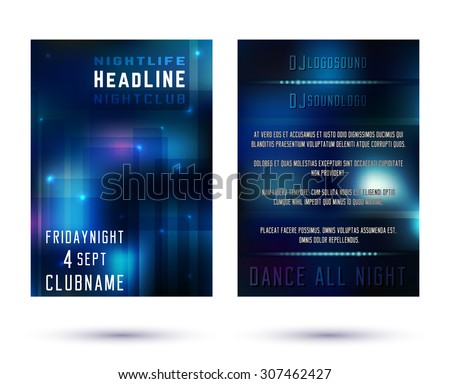 Brochure Template. Poster Party Flyer Layout A4. Brochure Design. Night Club Vector Illustration. - stock vector