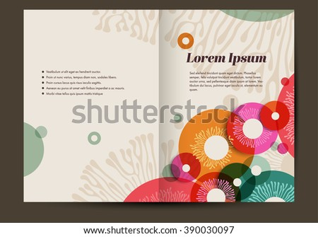 Brochure template with colorful abstract background, retro, eps10 vector - stock vector